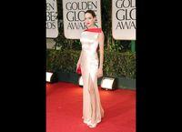 Wholesale 2012 Angelina Jolie Golden Globes Sheath Asymmetrical Two Toned Elastic Satin Slit Celebrity Dresses