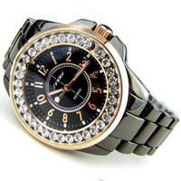Wholesale Bling Bling SINOBI Luxury Ceramic Style Diamond Case Rhinestone Ladies Women Watch Christmas Gift
