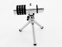Wholesale 12X Zoom Aluminum mobile Telescope telephoto Camera Lens For Samsung Galaxy s3 i9300 with Tripod