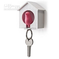 Wholesale 20pc New Hot Bird Nest Sparrow House Key Chain Ring Chain Wall Hook Holders Plastic Whistle D