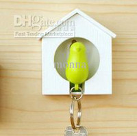 Wholesale 10pc Bird Nest house Sparrow Key Ring Whistle Rings Keyholder Anti lost Key Seat Bird Key pendan O D