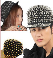 Wholesale Silvery Gold Rivet caps hat fashion jazz Spike Studs Rivet Hat Punk Rock Hiphop mix colors