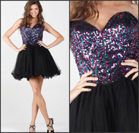 Reference Images Organza Sweetheart 2013 Newest shining!sexy black short homecoming dresses prom dresses sequin corset a-line layered