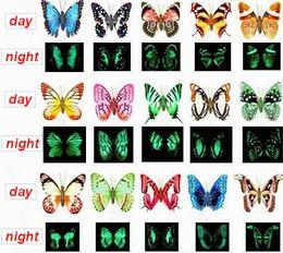 LED Light 50pcs lot Butterfly Fridge Magnet Simulation Decoration , Luminous Butterfly , Toys