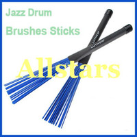 Wholesale Brand New Pair Retractable Black Rubber Handles Jazz Drum Brushes Sticks Blue Nylon
