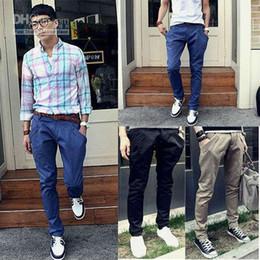 Wholesale Korean Style Men s Casual Slim Fit Pants Trousers Elastic Harem Pants YMF