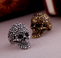 indian head rings - Coppery Silvery Grave Skull Head Finger Ring Hot Sale Skull Finger Ring Mix Color JZ036