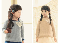 Wholesale 2013 winter Children Sweaters lace knit baby Pullover applique beautiful girl Clothing colour