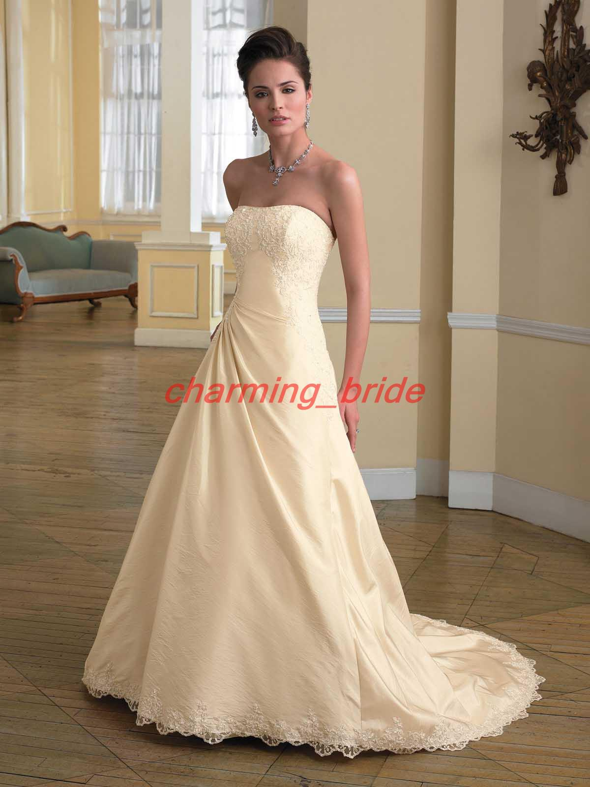 Discount 2013 Simple Ivory Strapless A Line Wedding