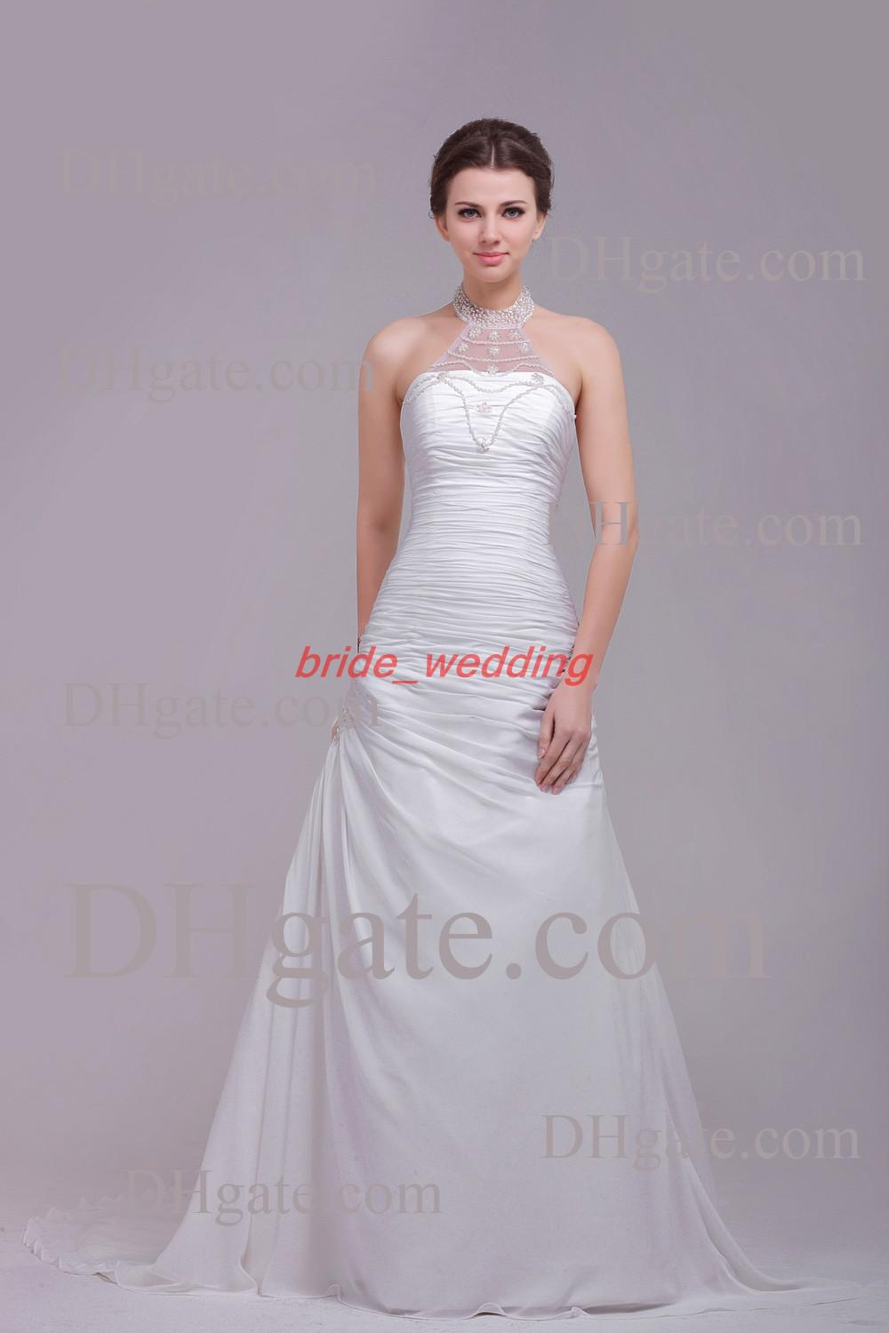white a line wedding dress halter jewelry beaded sheer
