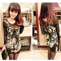 Wholesale Women s Casual New Nets Yarn Tiger Pattern Bottoming Shirt Long Sleeve T shirt Gray Brown free ship