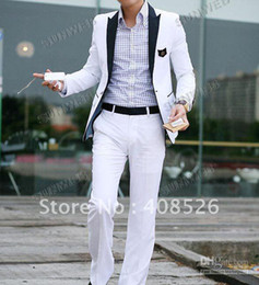 Wholesale Hot Men s Suit contains Jacket pant Western Style Outwear Leisure White Suit Blazer S