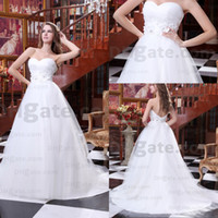 Model Pictures beautiful heart pictures - 2015 Hot selling exquisite sweet heart beautiful hand made flowers white tulleA Line wedding dresses Custom Made Vestidos