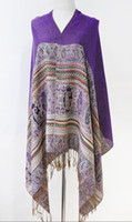 Wholesale women s purple Tassel Totem print shawls cape spring autumn