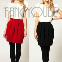 Mini A Line Above Knee, Mini dresses CHIC WOMAN'S SEXY PLEATED WOOLEN BUD SKIRT WITH POCKET WF-3666