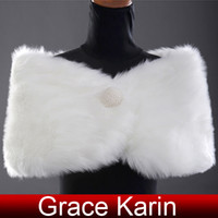 Wholesale 1pc Retail Grace Karin Faux Fur shawl for wedding Bridal Wrap Shawl Stole Tippet Jacket CL2616