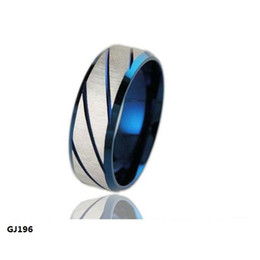 Wholesale Fashion Jewelry L Stainless Steel Rings Silver Blue Twill Dull Polish Couple Rings Wedding Rings