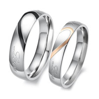Wholesale S5Y New Heart Shape Matching Titanium Steel Lovers Promise Ring Couple Wedding Bands