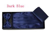 Wholesale Dark Blue Men s dress Cummerbund Elegant Bow girdle bow tie pocket towel Gift Set Decoration