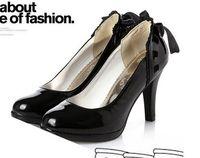 Wholesale black Color lace bowknot Ladies Women s Shoes High Heels Platform shoes Wedding Dress shoe dyg