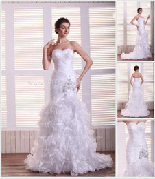 Wholesale 2013 New Elegant Sexy Sweetheart Ruffle Organza Beads Mermaid Wedding Dress DH4011