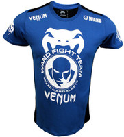 Wholesale 2012 Newest MMA Wanderlei Silva Venum Wand Team TUF Brazil short sleeve blue t shirt cotton hig