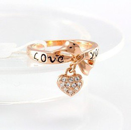 Wholesale Love Letter Bow Ring - The letter LOVE YOU bow love ring with Swarovski Crystal Ring free shipping