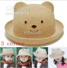 Wholesale Summer Baby Girl Sunhat - 2013 New Fashion kids baby Boy&Girl sunhat,SUMMER cute bear modelling hat&cap for baby,3 color mixed