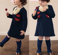 2T-3T Winter TuTu 2013 Children dress Ruffle lace Kid Clothing girl fake pocket skirt lovely baby royalblue dresses