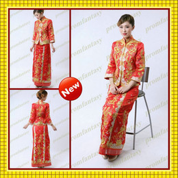 Wholesale 2013 Two Piece Exquisite Retro Phoenix Embroidered Long Sleeves Traditional Chinese Wedding Dresses