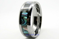Wholesale 8MM Tungsten Carbide Mens Ring Wedding Band Color Abalone Shell Inlay size