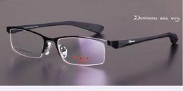 mens eye glasses Advanced alloy fashion optical frame black color eyeglass frames half coffee mens men eyeglasses eyewear frame by china