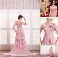Wholesale 2013 Dhgate Hot Sexy Off Shoulder Chiffon Floor Length Slit Flowers Custom Made Prom Dresses DH4048