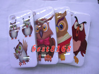 Wholesale Owl bird night Hard plastic Case cartoon read book skin cover cases For iphone th G S