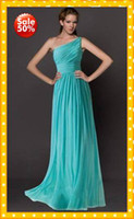 Wholesale Custom Elegant One shoulder Sheath Chiffon Turquoise Long Cheap Bridesmaid Dresses Backless Pleated Hot Prom Evening party Dress Gown