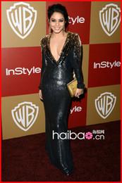 Wholesale 2013 Mermaid V neck Lace Sequins th golden globe awards red carpet Vanessa Hudgens Celebrity dress