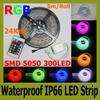 5M Flexible RGB LED Strip Light 16ft 5050 SMD 5M 300 LEDs Waterproof IP66 24key IR Remote Controller