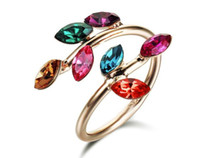 copper alloy - New arrival Rigan KGP copper alloy CZ crystal colorful flower alloy rings fashion costume jewelry