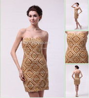 Wholesale 2013 Dhgate Elegent Hot Sexy Strapless Satin Gold Rhinestone Sheath Mini Cocktail Dresses DH4140