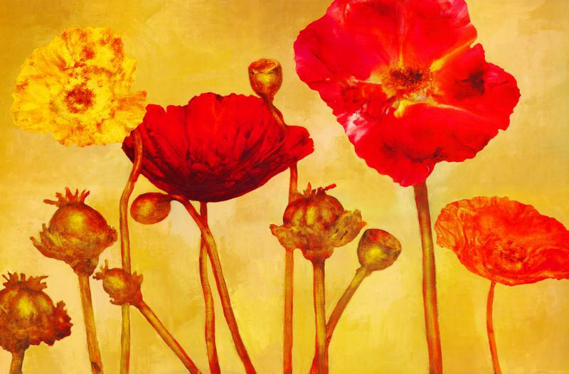 flower painting warm color flower painting painting on canvas