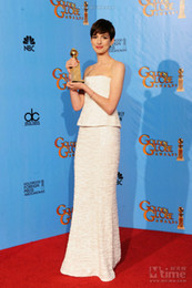 Wholesale Anne Hathaway White Floor Length The th Annual Golden Globe Awards Celebrity Dress