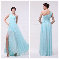 Wholesale Hot Sale Cheap Ruffle One Shoulder A line Ankle Length Baby Blue Evening Prom Dresses Bridesmaid Dresses Chiffon Long JA067