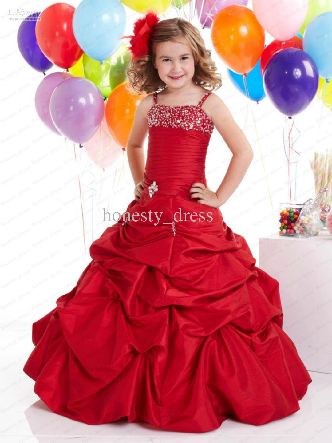 On Sale Red Ball Gown Taffeta Flower Girls Dress Spaghetti Sweep ...