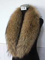 Wholesale XL CM real raccoon fur collar scarf wrap scarves attach to coat natural brown