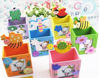 Wholesale cartoon wooden photo frame pen holder Animal photo frame pen holder creative gifts pen holder photo clip