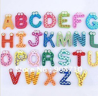 Wholesale 26pcs capital letter alphabet fridge magnet Children Education toy Gift Kid Wood Sticker