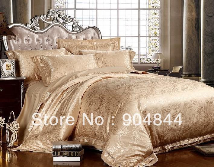 Gold Color Luxury Silk Jacquard Bedsheet Set Bedding Set