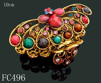 Wholesale vintage Bronze flower crystal rhinestone hair claw hair clip hair jewelry mixed color FC496