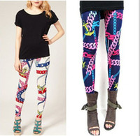 Wholesale HOT Fashion New Cross chain graffiti Printed Leggings Tights Legwear Pants Cool Design