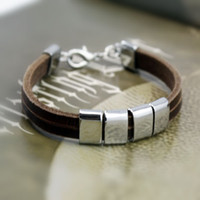 Wholesale Genuine leather stainless steel sheet bracelets snap bangle personality bracelets PSS0123